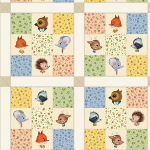 Woodland friends patchwork - small scale