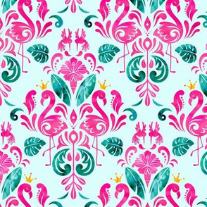 Hot pink flamingo damask - small scale