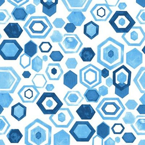 Gouache Hexagons - Blues - Medium Scale