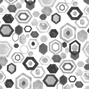 Gouache Hexagons - Monochrome - Medium Scale