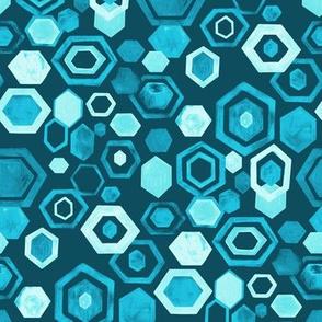 Gouache Hexagons - Turquoise - Medium Scale