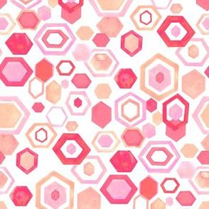 Gouache Hexagons - Pastel Pinks - Medium Scale
