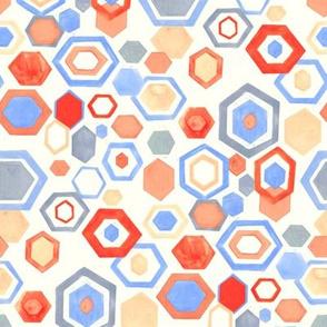 Gouache Hexagons - Reds & Blues - Medium Scale