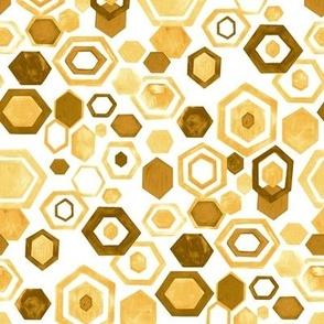 Gouache Hexagons - Yellows - Medium Scale