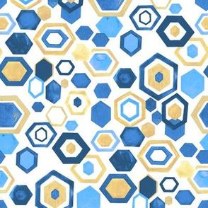 Gouache Hexagons - Blues & Beige - Medium Scale