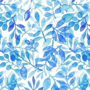 blue watercolor leaves
