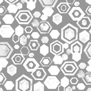 Gouache Hexagons - Grey & White - Medium Scale