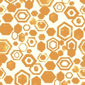 Gouache Hexagons - Mustard - Medium Scale