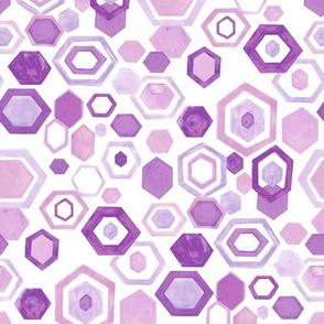 Gouache Hexagons - Pastel Purples - Medium Scale