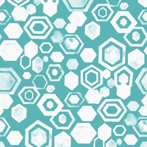 Gouache Hexagons - White & Turquoise - Medium Scale