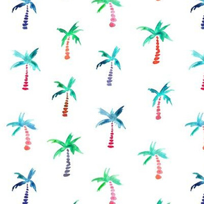 Palms in watercolor - mint, periwinkle, pink