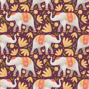 Majestic Elephants - Burgundy