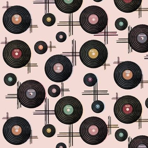 Retro Vinyl Records in Blush Pink