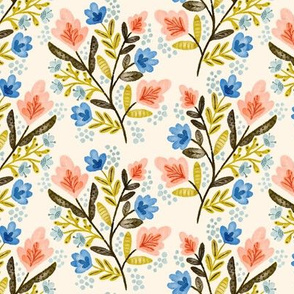 Peach and Blue Floral