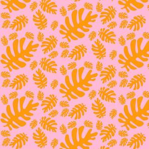 Funky tropical leaf pattern (orange & blush)
