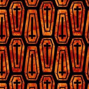 Watercolor Coffins in Orange