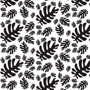 Funky tropical leaf pattern (black & white)