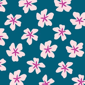 Tropical flower Light Pink & Teal