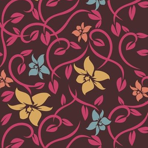 Asian Flowers - Pink & Brown