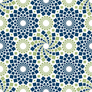 Kaleidoflowers (Navy and Green)