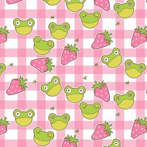 Pink Gingham Cottagecore Frogs