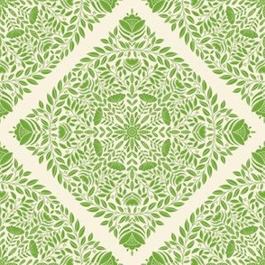 Small Scale Bright green floral wreath, nature leaves and flowers, botanical pattern