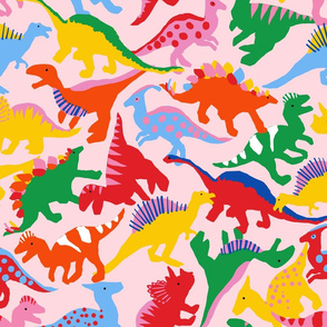 Rainbow Dinosaurs - Pink