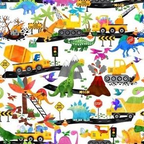 watercolor dinosaur road crew small
