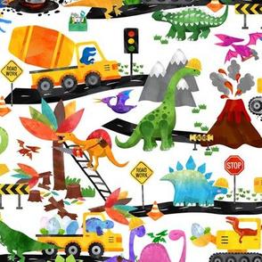 watercolor dinosaur road crew medium