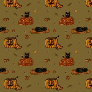 Fall Black Cat