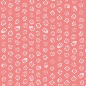 Shibori kanoko white dots over coral pink