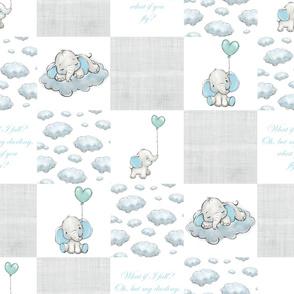 BLUE elephant patchwork grey linen
