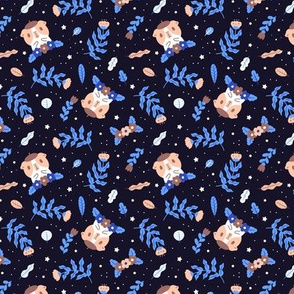 Bubu and Moonch, Guinea pig and blue floral pattern in black, small scale