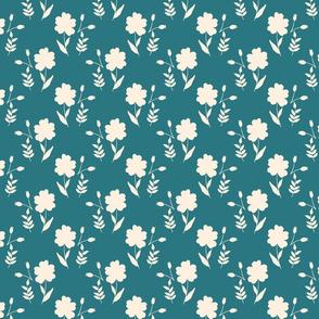 garden blue ivory ditsy flower terriconraddesigns