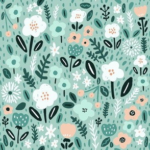 Bloomy florals on mint