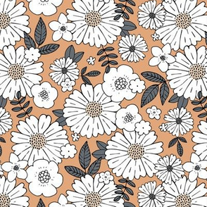 Scandinavian vintage style daisy flower garden boho botanical autumn winter christmas leaves and blossom neutral nursery beige caramel brown vintage