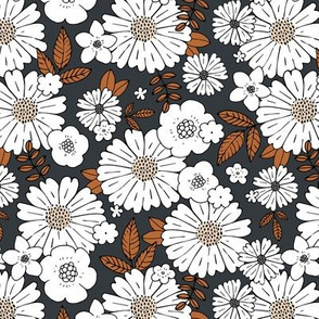 Scandinavian vintage style daisy flower garden boho botanical autumn winter christmas leaves and blossom neutral nursery charcoal gray white copper brown