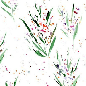 watercolor splatter dainty flowers - splash florals for modern home decor bedding nursery 334