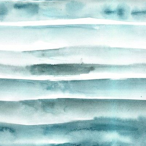 Ocean emerald watercolor painterly stripes - abstract hand painted textured stripe design for modern home decor_ bedding_ nursery