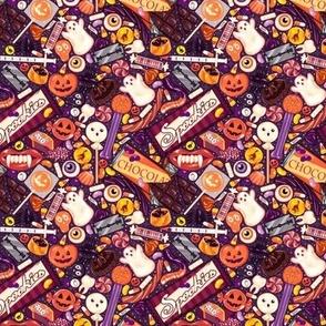 Creepy Halloween Candy on Purple Micro