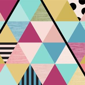 modern rainbow triangle cheater quilt yard