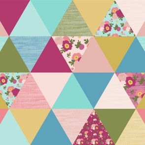 floral rainbow triangle cheater quilt yard