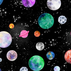 watercolor outer space planets medium