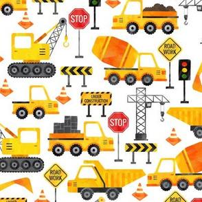 watercolor road work construction vehicles medium