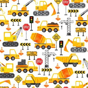 watercolor road work construction vehicles small