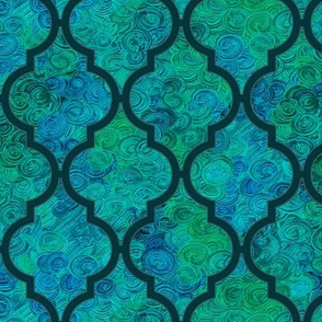 Dark teal Moroccan quatrefoil over blue-green swirls by Su_G_©SuSchaefer