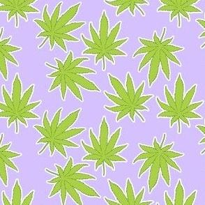 Pot Leaves on Pastel Purple