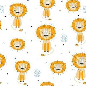 Funny yellow lions kids pattern
