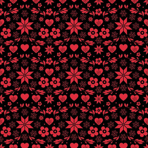 Black Red Snowflakes Floral Heart