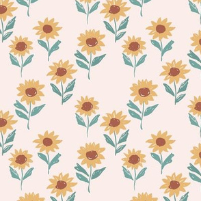 Messy sunflower garden daisy blossom and flower leaves boho nursery Scandinavian style pale pink yellow sage